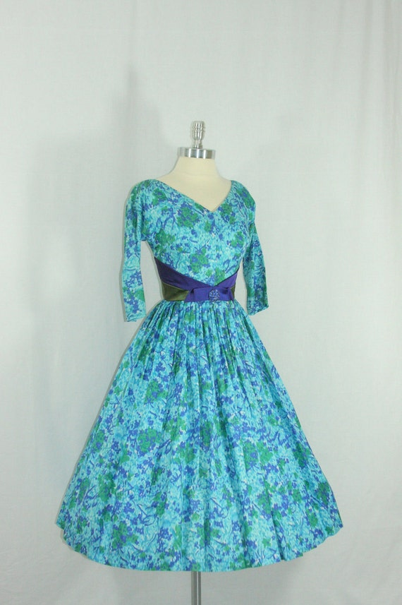 RESERVED......1950's Party Dress - Gorgeous Blue Purple and Green Watercolor Silk with Acentuated Waist Party Frock