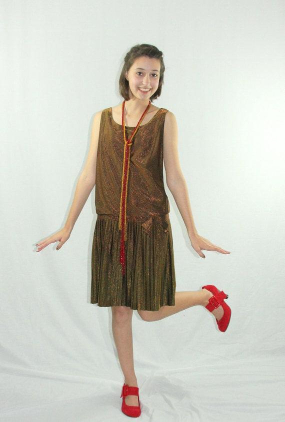1960s Dress - 1960s Does 1920s Iridescent Metallic Bronze Drop Waist Pleated Garconne Frock