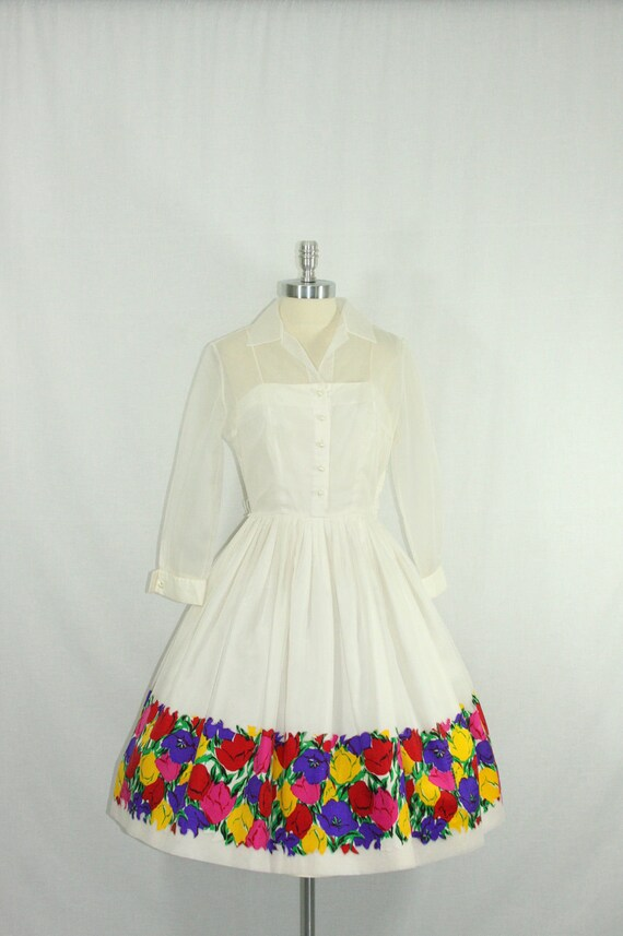 Reserved for Amy.......Vintage 1950's Short Wedding Dress - White Chiffon Illusion  Full Skirt with Border Floral Print