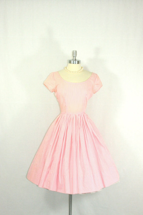 1950's Dress - Sweet as Candy Pink and White Pinstriped Cotton Full Skirt Garden Party Frock