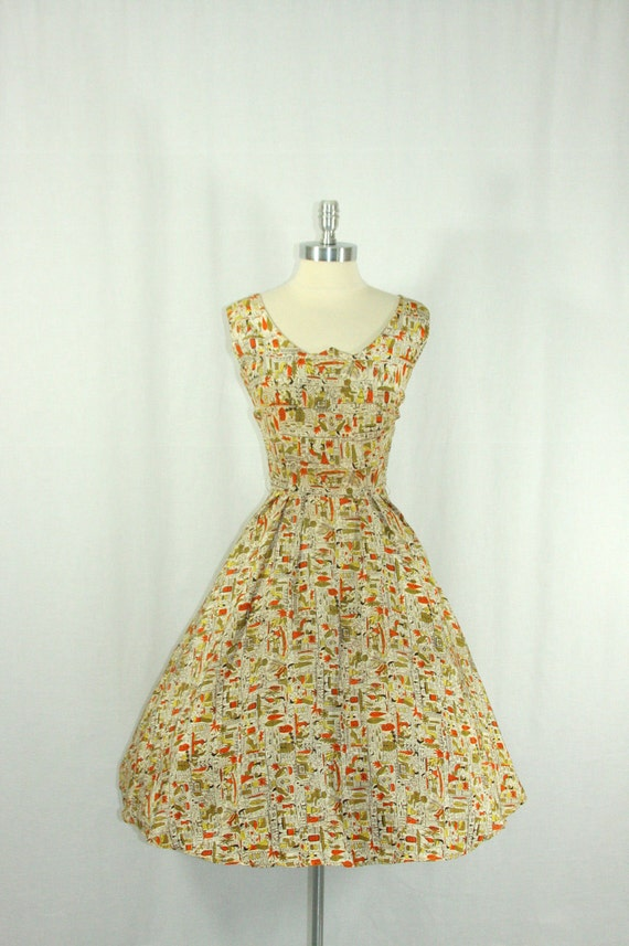 RESERVED.................1950's Dress - Novelty Print - Ancient Egyptian Scene - Cleopatra Nile River Gardens - Summer Party Frock