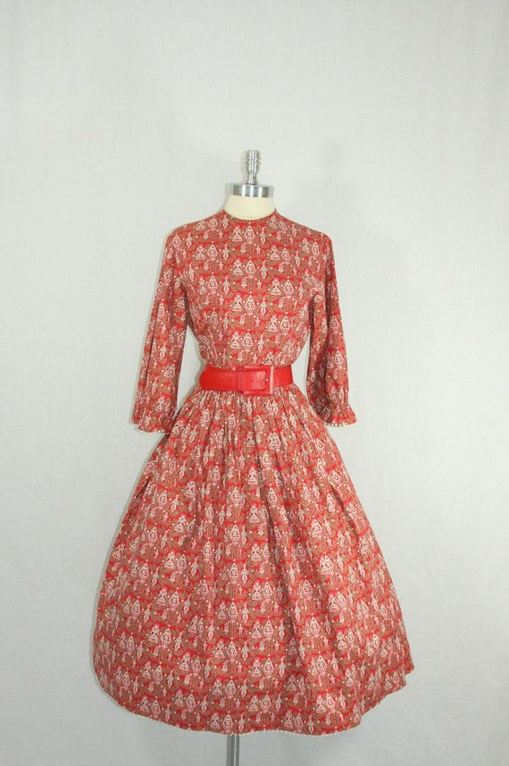 1950s Dress - Vintage LANZ Red White and Cotton Full Skirt 50s Day Frock