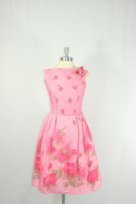 1950s Summer Dress - Pink Chiffon Over Rose Taffeta Illusion Sleeveless Spring Garden Party Frock