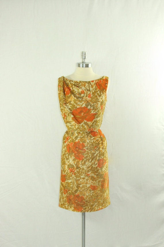 1960's Metallic Mid Century Mod Dress - GOLD and Orange Draped Bodice Wiggle Cocktail Party Frock