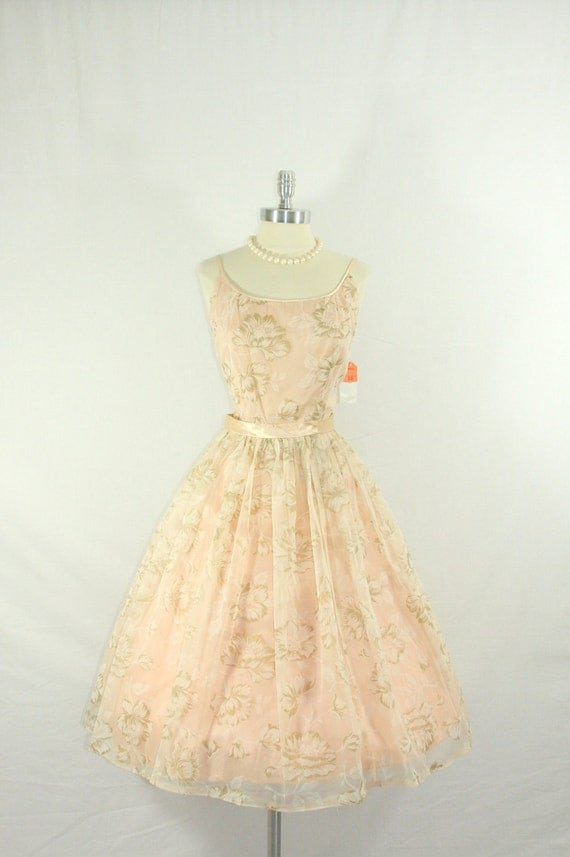 RESERVED..........1950s Summer Dress - Gorgeous Large Pale Pink Floral Nylon Organza Full Skirt Summer Wedding Frock