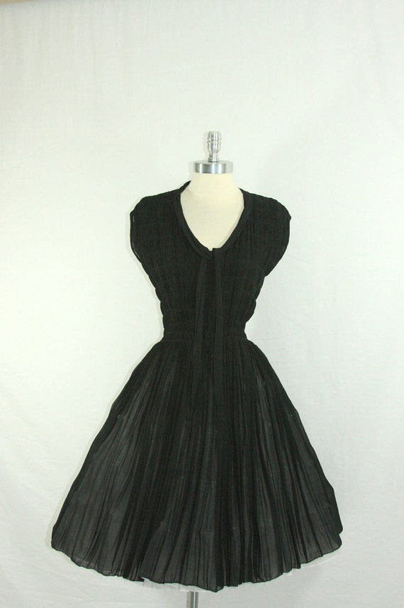 1950s Lg to XL Dress - Perfect LBD for So Many Occasions - Full Skirt  - Ruching Cocktail Party Frock
