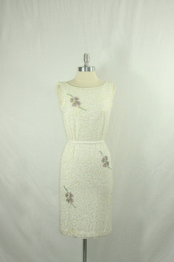 1960s Wedding Dress - Vintage White Silk Jersey Sequins and Beaded Summer Wiggle Frock