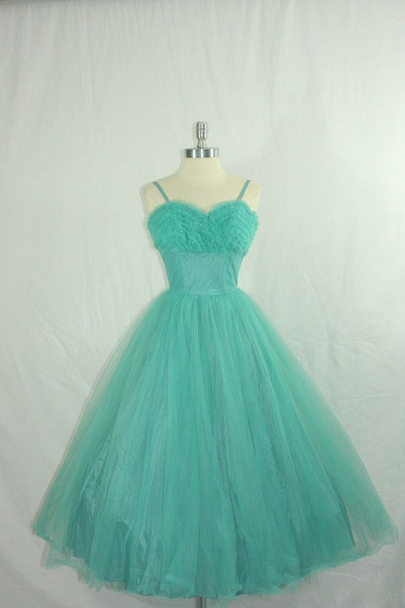 VINTAGE Party 1950's Dress - Gorgeous Turquoise Tulle Sweetheart Shelf Bust Full Skirt Tea Length Cocktail Wedding Frock