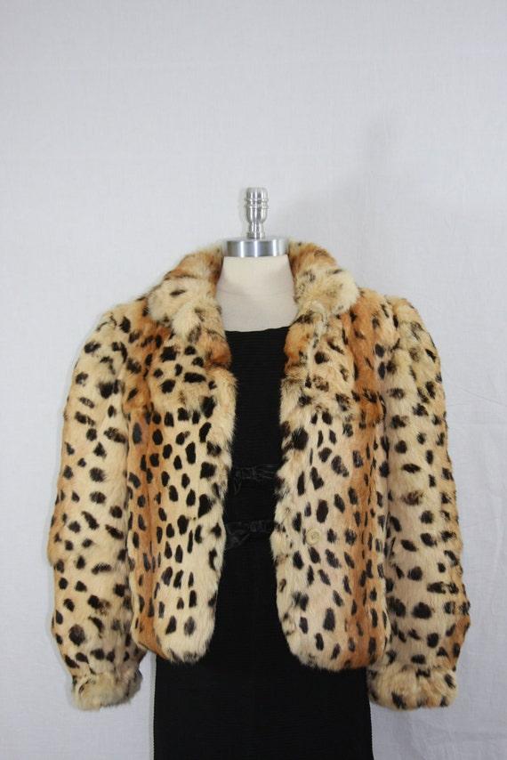 1970s Vintage Rabbit Dyed Leopard Fur Coat - Animal Print Jacket