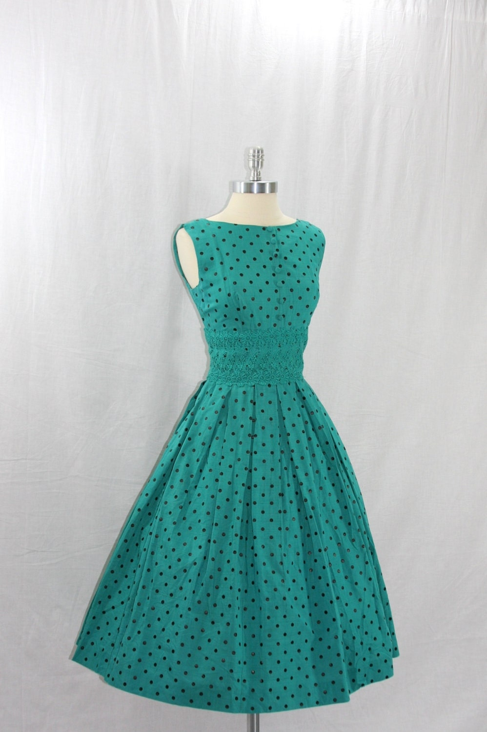 1950 s vintage dress blue green with black polka dots