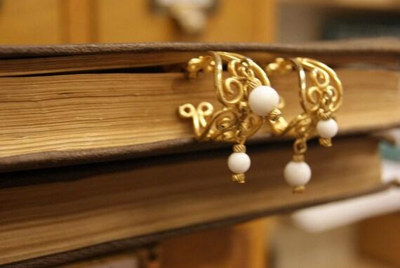 Vintage Gold Scrollwork hoops
