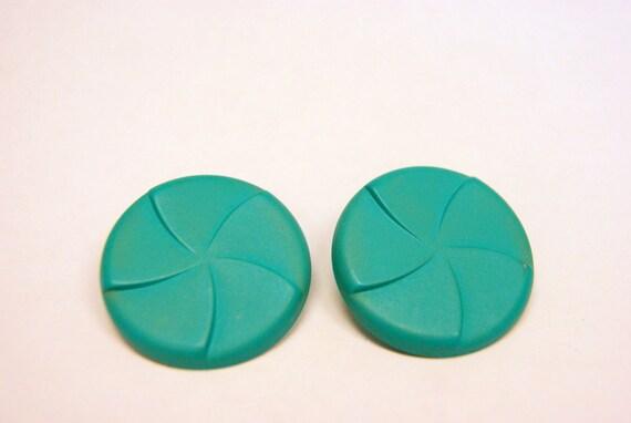 Vintage Teal Green Pinwheel Pierced Earrings