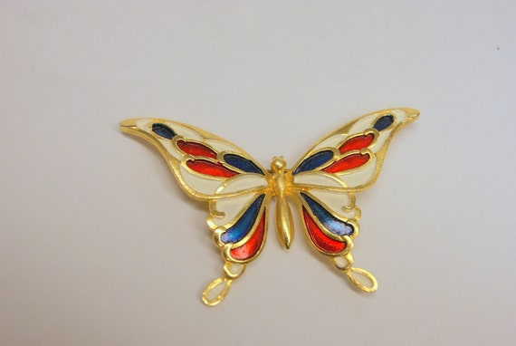 Vintage Red White and Blue Butterfly