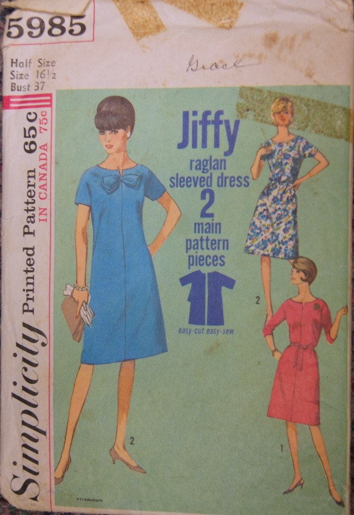 60s Simplicity Shift Dress Pattern 5985 Bust 37