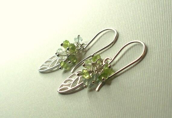 Leaf Sterling Silver Earrings Peridot Topaz Aquamarine Wire Wrapped