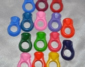Recycled Crayons Ring Shaped - Total of 15 Rings.  Boy or Girl Kids Unique Party Favors, Crayons.