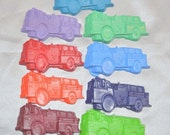 Fire Truck Recycled Crayons, Total of 9.  Boy or Girl Kids Unique Party Favors, Crayons.