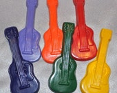 Guitar Crayons, Guitar Party Favors, Large Guitar Shaped Recycled Crayons, Total of 6.  Boy or Girl Kids Unique Party Favors, Crayons.