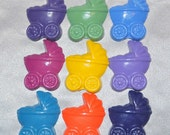 Baby Stroller Shaped Recycled Crayons, Total of 9.  Boy or Girl Kids Unique Party Favors, Crayons.