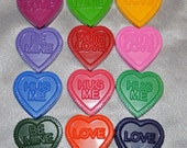 Heart with Words Recycled Crayons, Total of 12.  Boy or Girl Kids Unique Party Favors, Crayons.