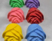 Recycled Crayons Roses Shaped / Set of 6.  Boy or Girl Kids Unique Party Favors, Crayons.