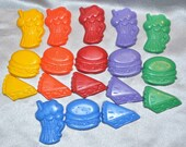 Shake, Hamburger, Pie Shaped Recycled Crayons, Total of 18 Crayons.  Boy or Girl Kids Unique Party Favors, Crayons.