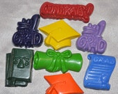 Recycled Crayons Graduation Shaped Total of 8.  Boy or Girl Kids Unique Party Favors, Crayons.