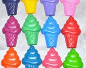 Ice Cream Cones Shaped Recycled Crayons, Total of 12.  Boy or Girl Kids Unique Party Favors, Crayons.