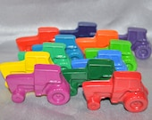 Crayons Tractors Total of 12 Crayons.  Boy or Girl Kids Unique Party Favors, Crayons.