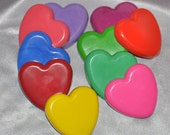 Heart Recycled Crayons, Total of 10.  Boy or Girl Kids Unique Party Favors, Crayons.