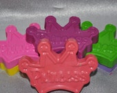 Recycled Crayons Princess Tiara Shaped Total of 6.  Boy or Girl Kids Unique Party Favors, Crayons.