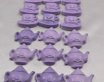 Light Purple Tea Pots and Tea Cups Shaped Recycled Crayons- Total 18 Crayons.  Boy or Girl Kids Unique Party Favors, Crayons.