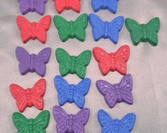 Sensory Items, Butterfly Crayons, Butterfly Party Favors, Recycled Crayons Butterfly Shaped - Set of 16.  Girl Kids Unique Party Favors.