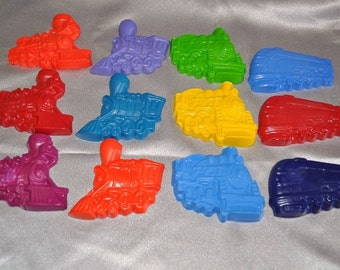 Tain Crayons, Train Party Favors, Recycled Crayons Train Shaped / Total of 12 Trains.  Boy or Girl Kids Unique Party Favors, Crayons.