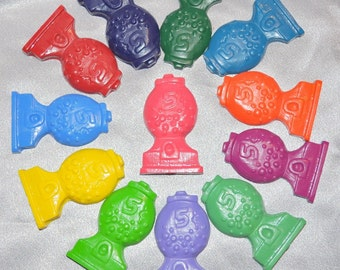 Recycled Crayons Gumball Machine Shaped / Set of 12.  Boy or Girl Kids Unique Party Favors, Crayons.