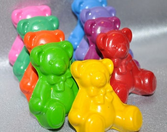 Recycled Crayons Teddy Bear Shaped Total of 9.  Boy or Girl Kids Unique Party Favors, Crayons.