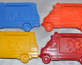 Recycled Crayons Large Ambulance Truck Shaped Total of 4 Crayons.  Boy or Girl Kids Unique Party Favors, Crayons.