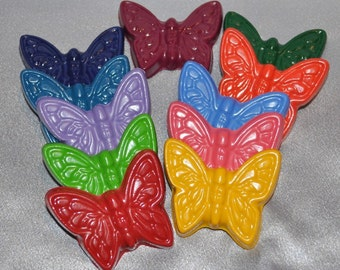 Butterfly Crayons, Butterfly Party Favors, Butterfly Shaped Recycled Crayons- Set of 11.  Boy or Girl Kids Unique Party Favors, Crayons.