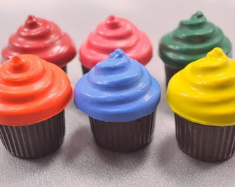 Recycled Crayons Cupcake Shaped - Total of 6.  Boy or Girl Kids Unique Party Favors, Crayons.
