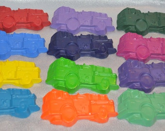 Fire Truck Shaped Recycled Crayons/ Total of 12.  Boy or Girl Kids Unique Party Favors, Crayons.