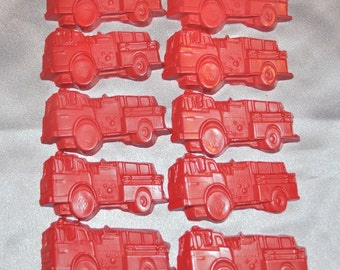 Fire Truck Recycled Crayons, Total of 25.  Boy or Girl Kids Unique Party Favors, Crayons.