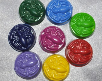 Recycled Crayons Spider Shaped Total of 16 Crayons.  Boy or Girl Kids Unique Party Favors, Crayons.  Super Hero Crayons