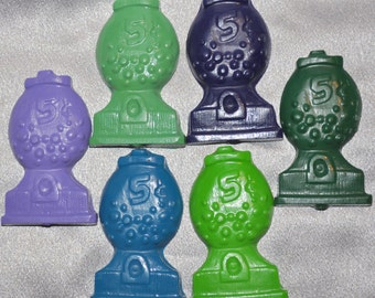 Recycled Crayons Gumball Machine Shaped / Set of 6.  Boy or Girl Kids Unique Party Favors, Crayons.
