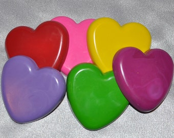 Hearts Recycled Crayons, Total of 6.  Boy or Girl Kids Unique Party Favors, Crayons.