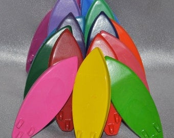 Recycled Crayons Surfboards Shaped Total of 15.  Boy or Girl Kids Unique Party Favors, Crayons.