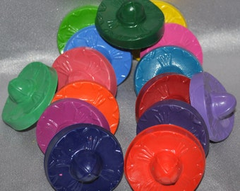 Recycled Crayons Sombrero Shaped Total of 15.  Boy or Girl Kids Unique Party Favors, Crayons.