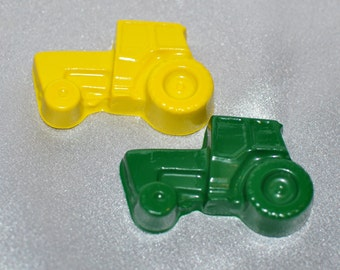 Recycled Crayons 24 Tractor Shaped - Party Set For 12 Kids.  Boy or Girl Kids Unique Party Favors, Crayons.