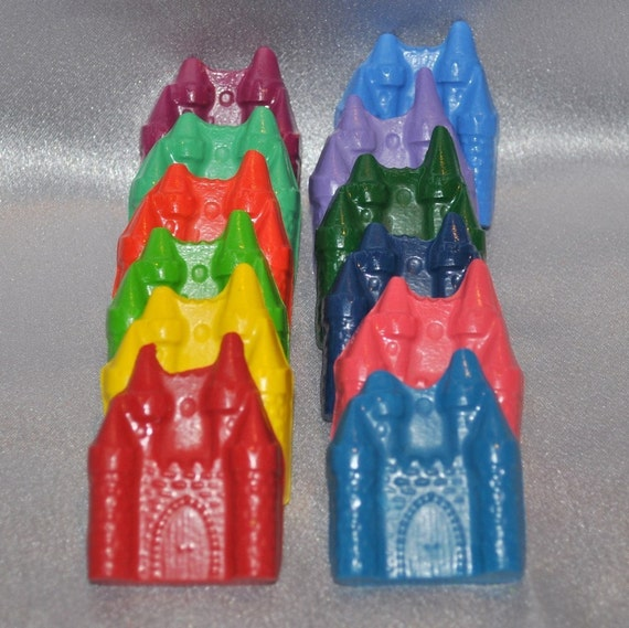 Sensory Crayons, Princess Party Favors, Castle Shaped Recycled Crayons/ Set of 12.  Boy or Girl Kids Unique Party Favors, Crayons.