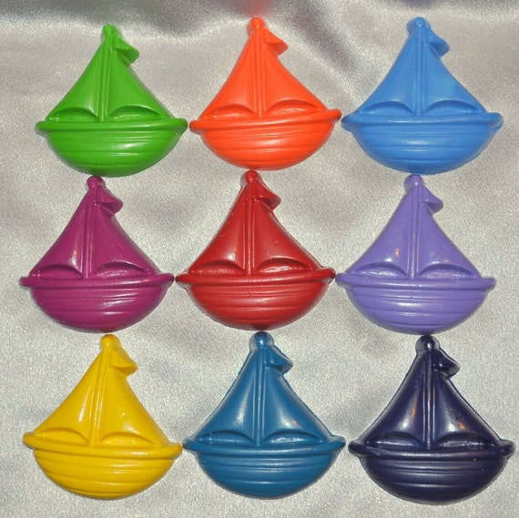 Recycled Crayons Boat Shaped Total of 9.  Boy or Girl Kids Unique Party Favors, Crayons.