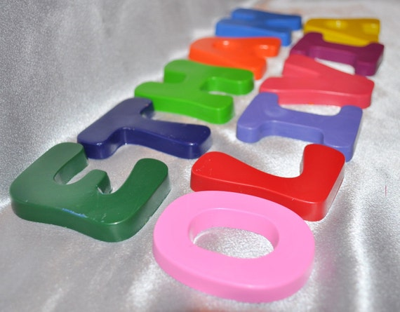 Recycled Crayons Name Letter shaped Total of 5 Letters.  Boy or Girl Kids Unique Party Favors, Crayons.